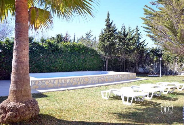 Zona jardin y piscina